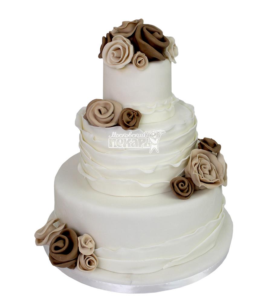 №2132 Свадебный торт с цветами