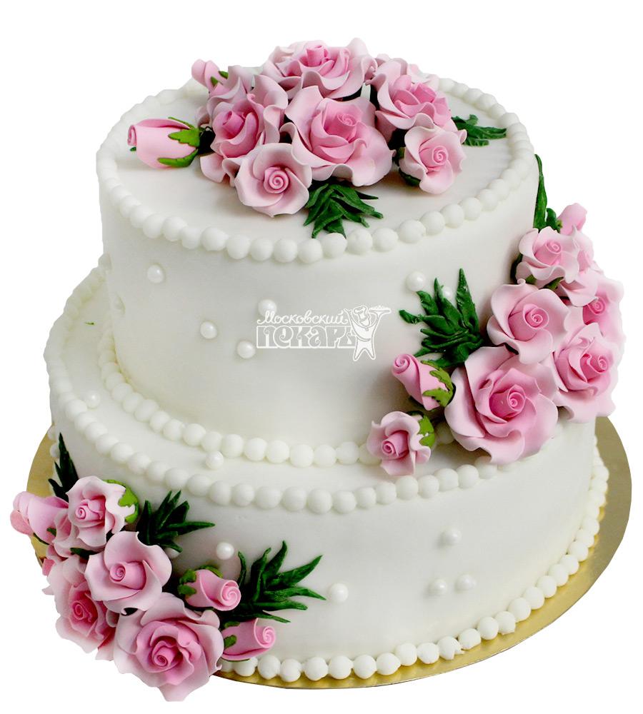 №2138 Свадебный торт с цветами