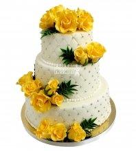 №2163 Свадебный торт с цветами