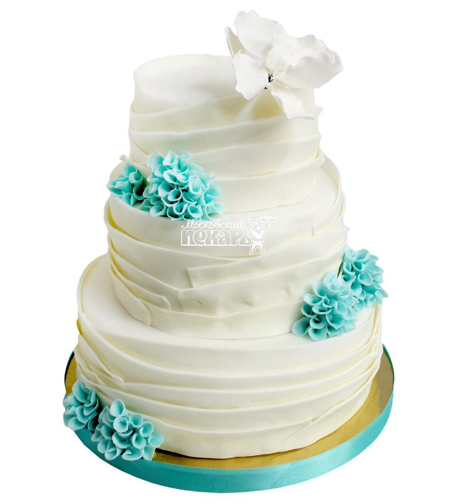 №2166 Свадебный торт с цветами