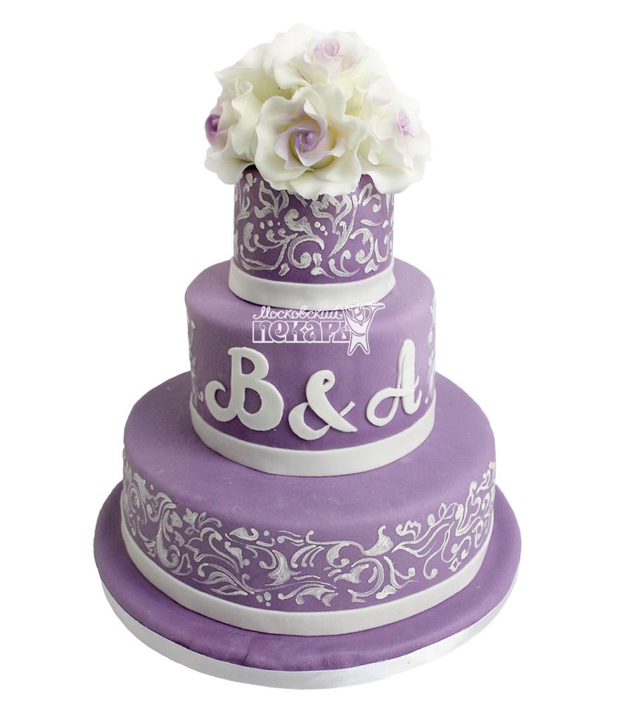 №2215 Свадебный торт с цветами