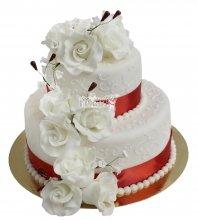 №2224 Свадебный торт с цветами