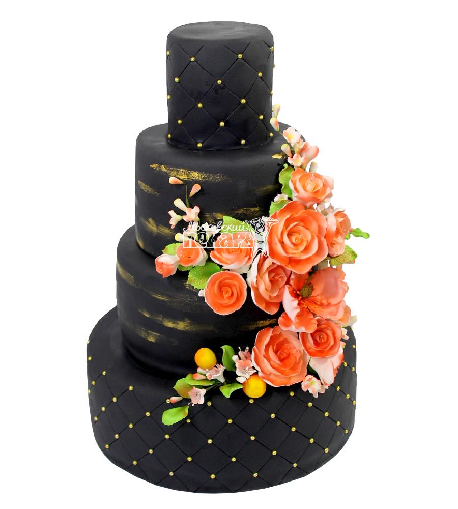 №2227 Свадебный торт с цветами