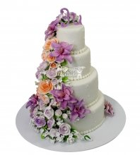 №2230 Свадебный торт с цветами