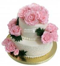 №2238 Свадебный торт с цветами