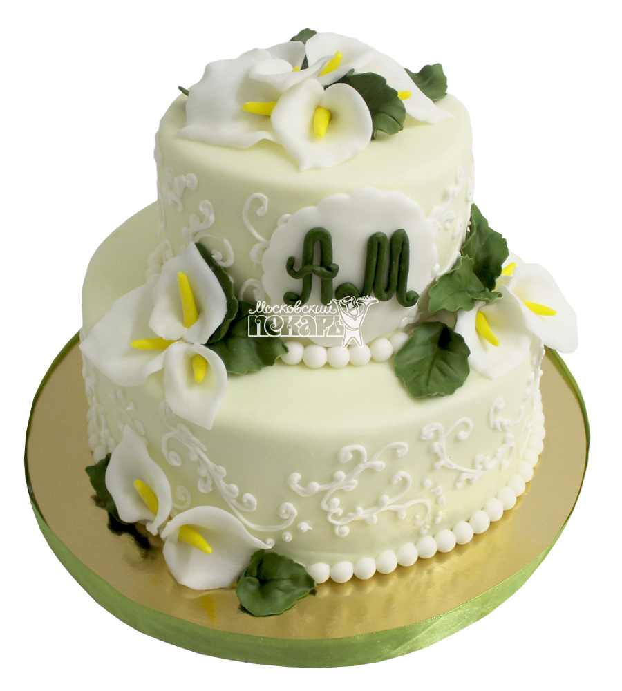 №2244 Свадебный торт с цветами