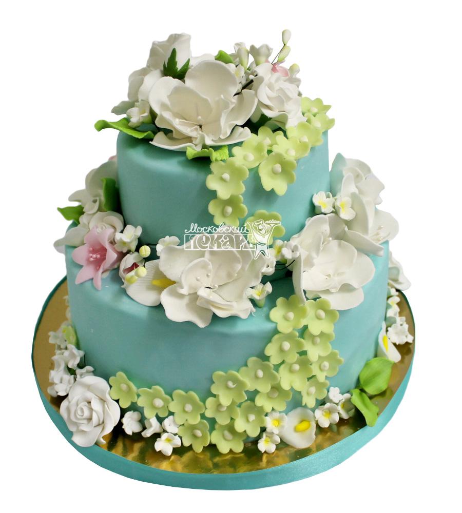 №2248 Свадебный торт с цветами