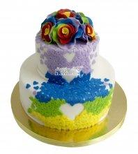 №2250 Свадебный торт с сердечками