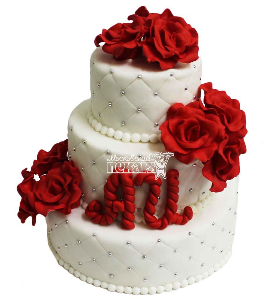 №2801 Свадебный торт с цветами