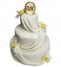 №2802 Свадебный торт с цветами