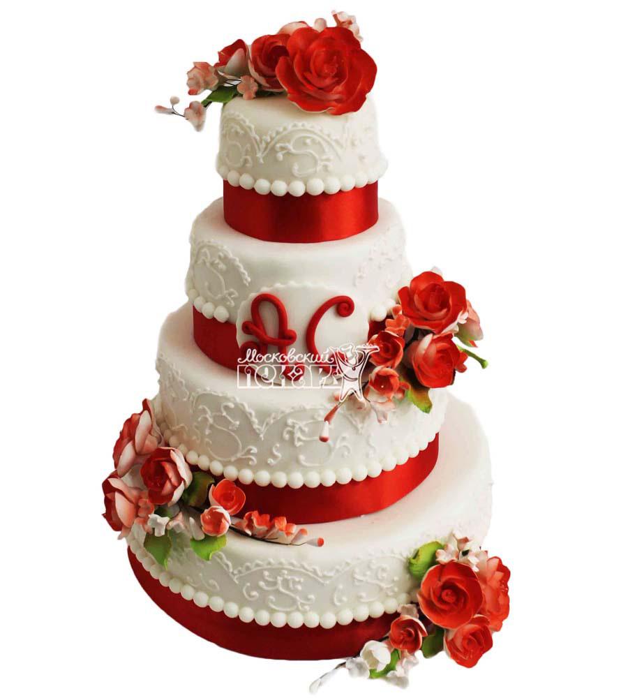 №2803 Свадебный торт с цветами
