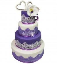 №2804 Свадебный торт с цветами и кружевами