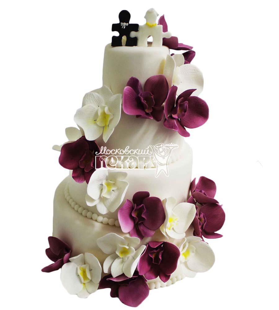 №2805 Свадебный торт с цветами