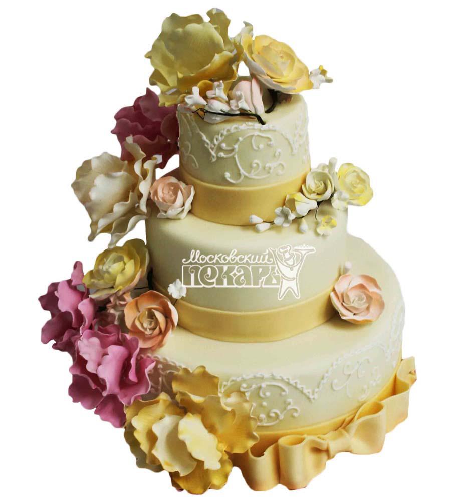 №2806 Свадебный торт с цветами