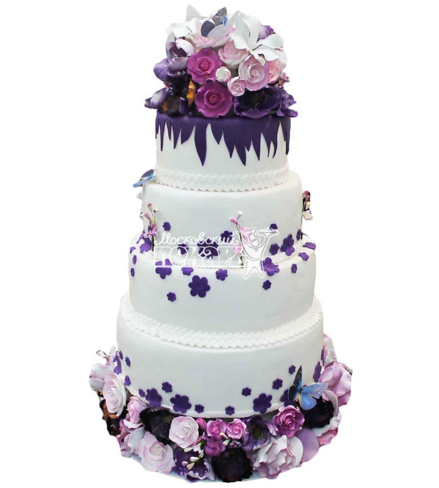 №2807 Свадебный торт с цветами