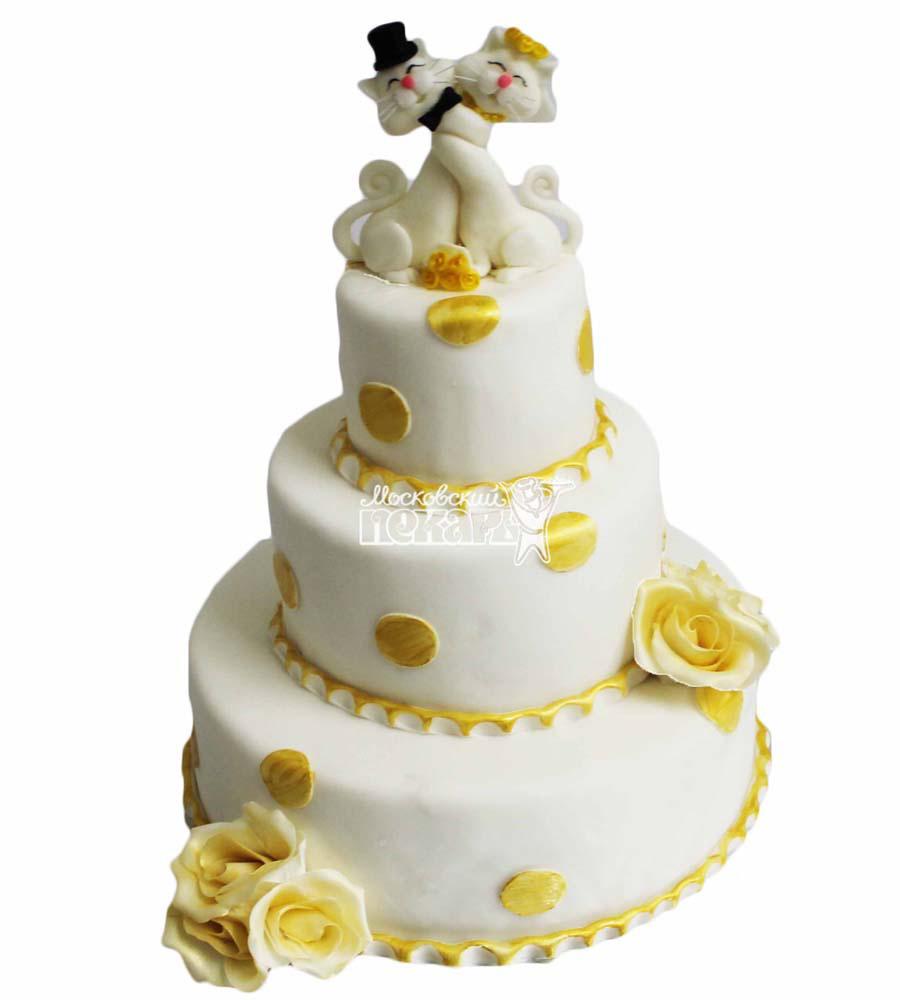 №2825 Свадебный торт с кошечками