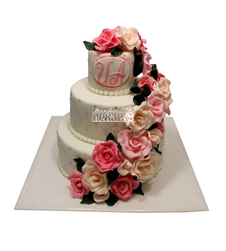 №2963 Свадебный торт с цветами