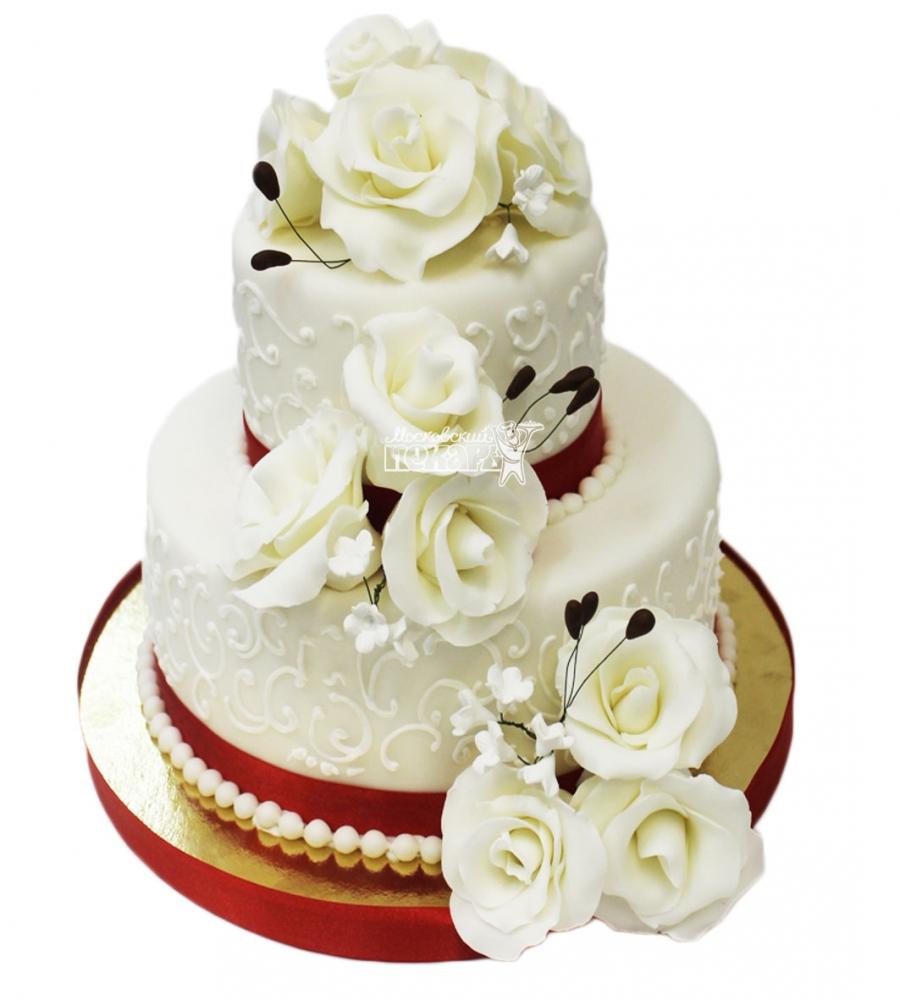 №3120 Свадебный торт с цветами