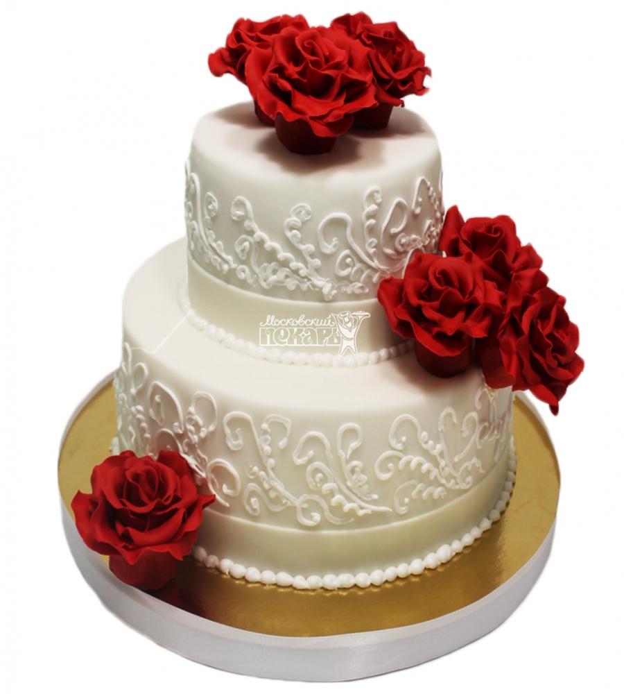 №3303 Свадебный торт с цветами