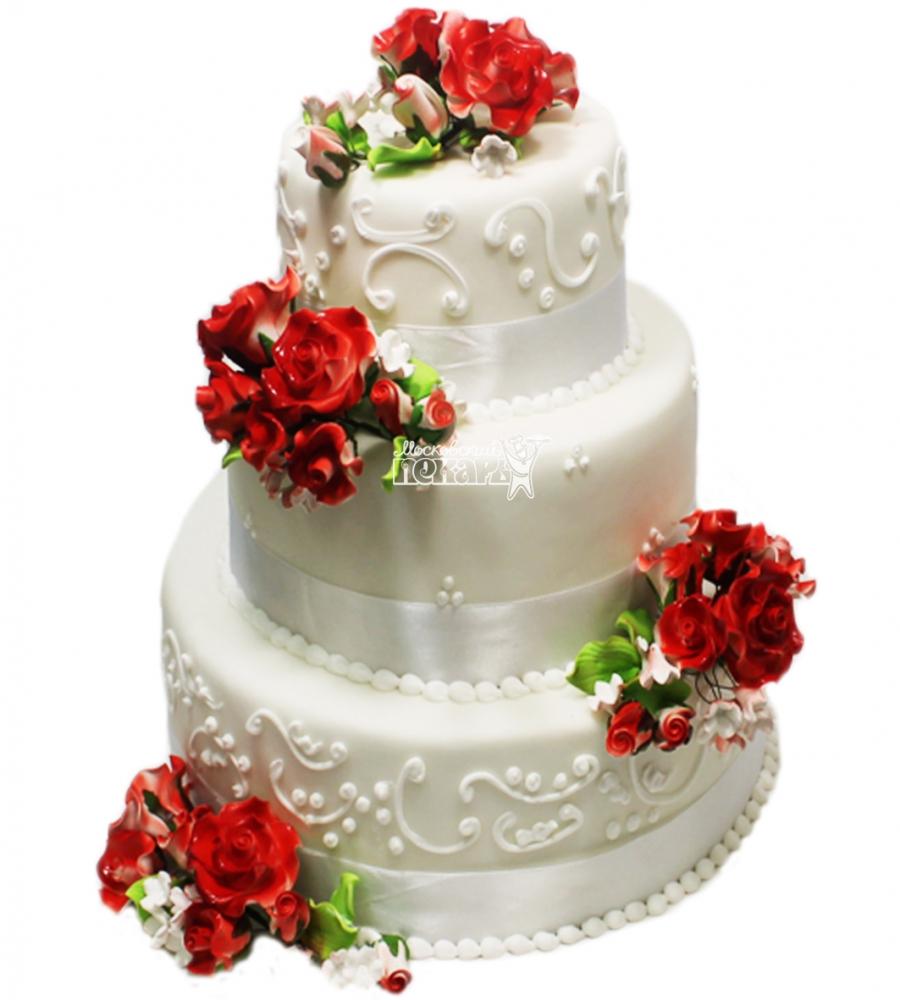 №3316 Свадебный торт с цветами