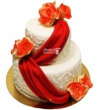№3319 Свадебный торт с цветами