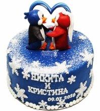 №3494 Свадебный торт с пингвинами