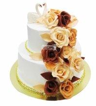 №3536 Свадебный торт с цветами