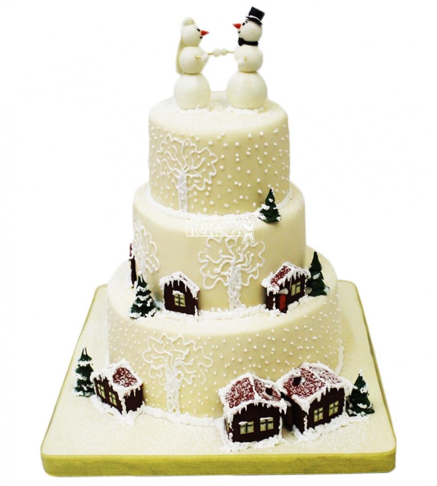 №3589 Свадебный торт с снеговиками