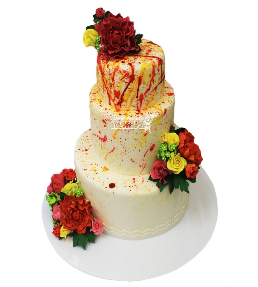 №3718 Свадебный торт с цветами