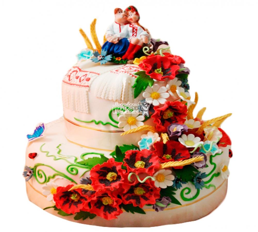 №3806 Свадебный торт с цветами