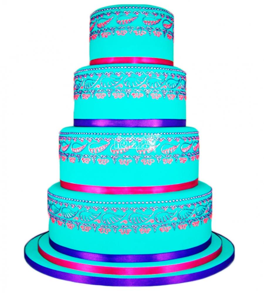 №3882 Свадебный торт с узорами