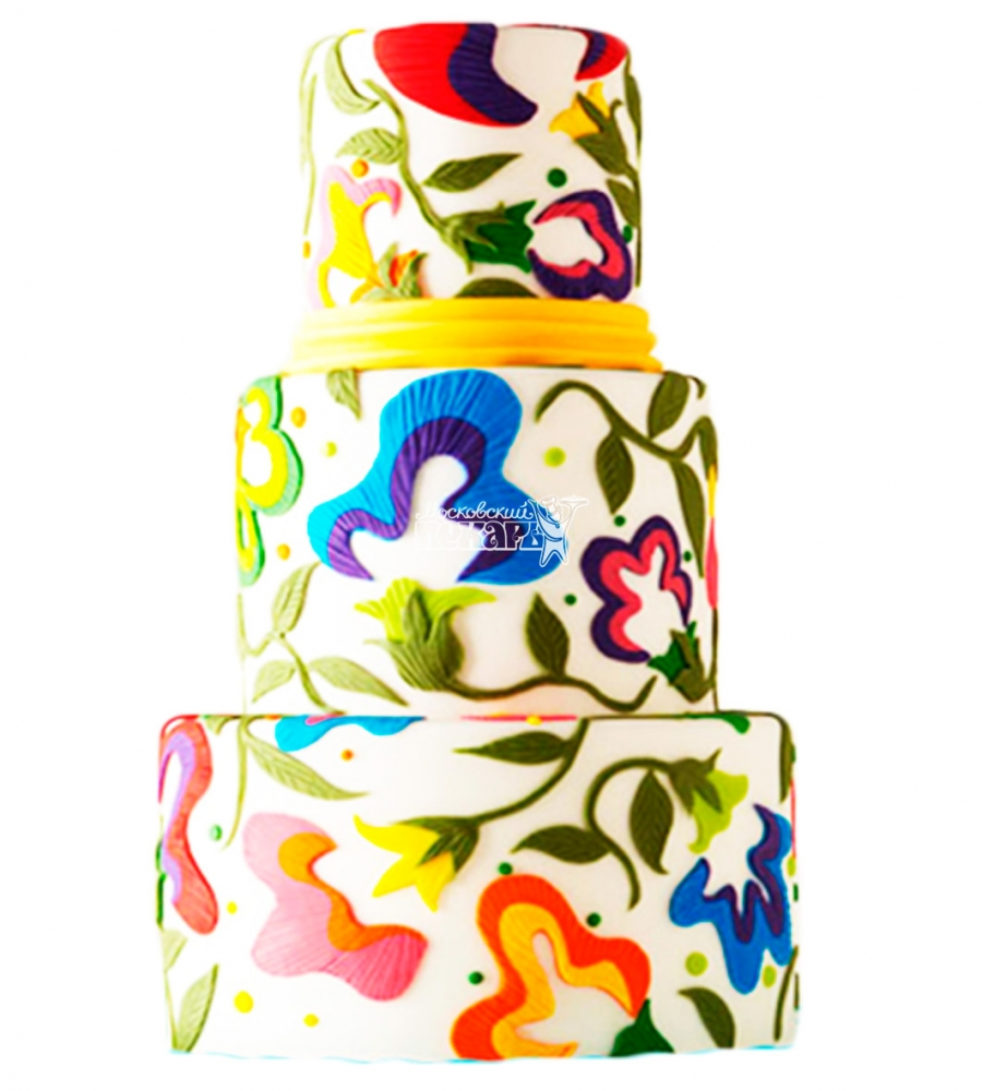 №3986 Свадебный торт с узорами