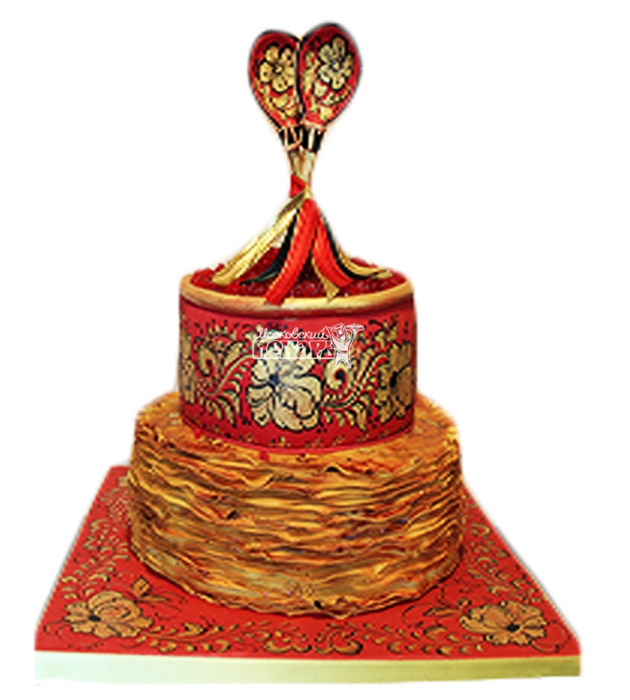 №4000 Свадебный торт хохлома