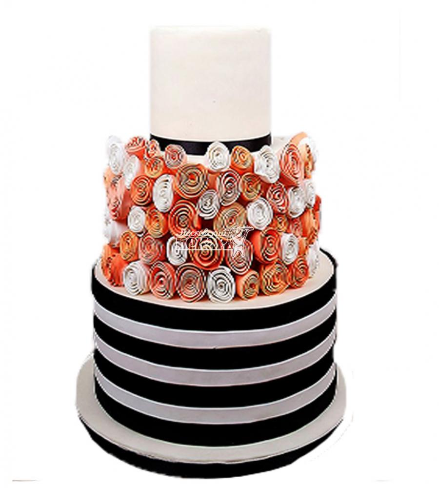 №4007 Свадебный торт с розами