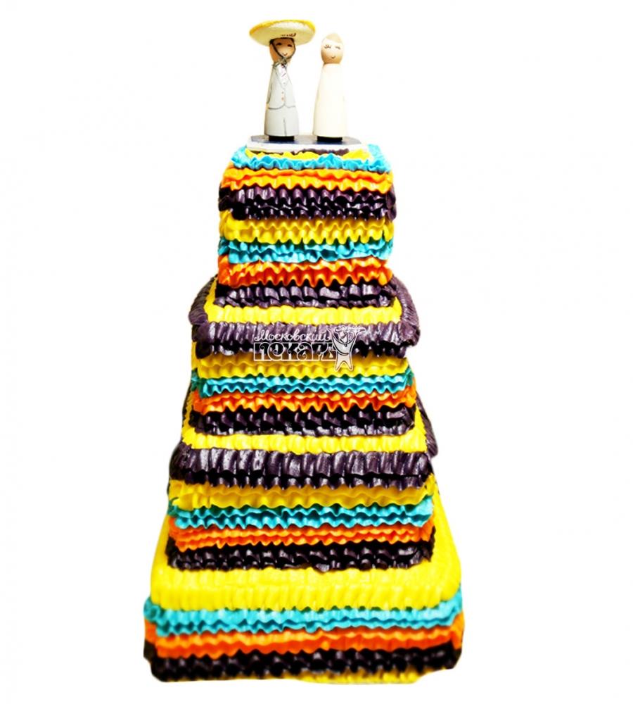 №4014 Свадебный торт цветной