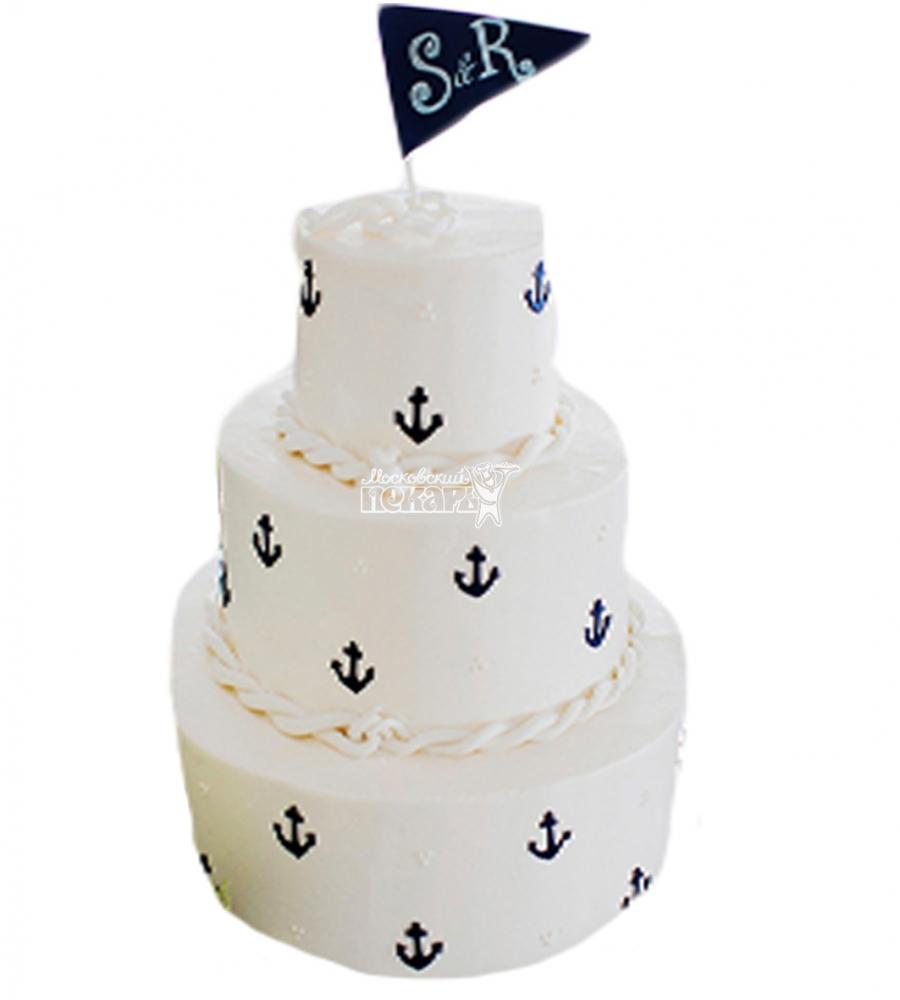 №4015 Свадебный торт с якорем