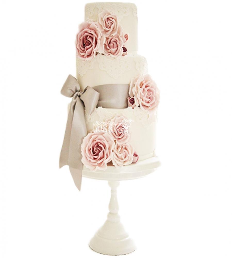 №4030 Свадебный торт с цветами