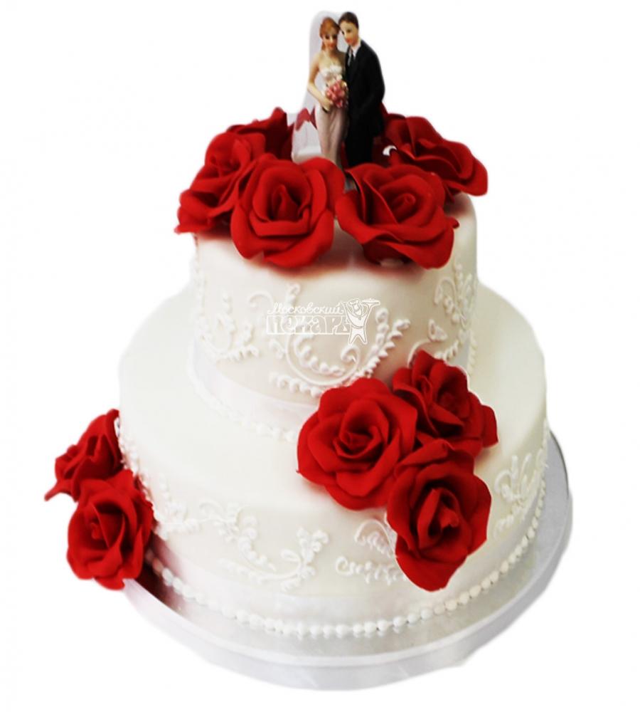№4124 Свадебный торт с розами