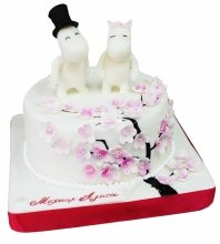 №4248 Свадебный торт с бегемотами