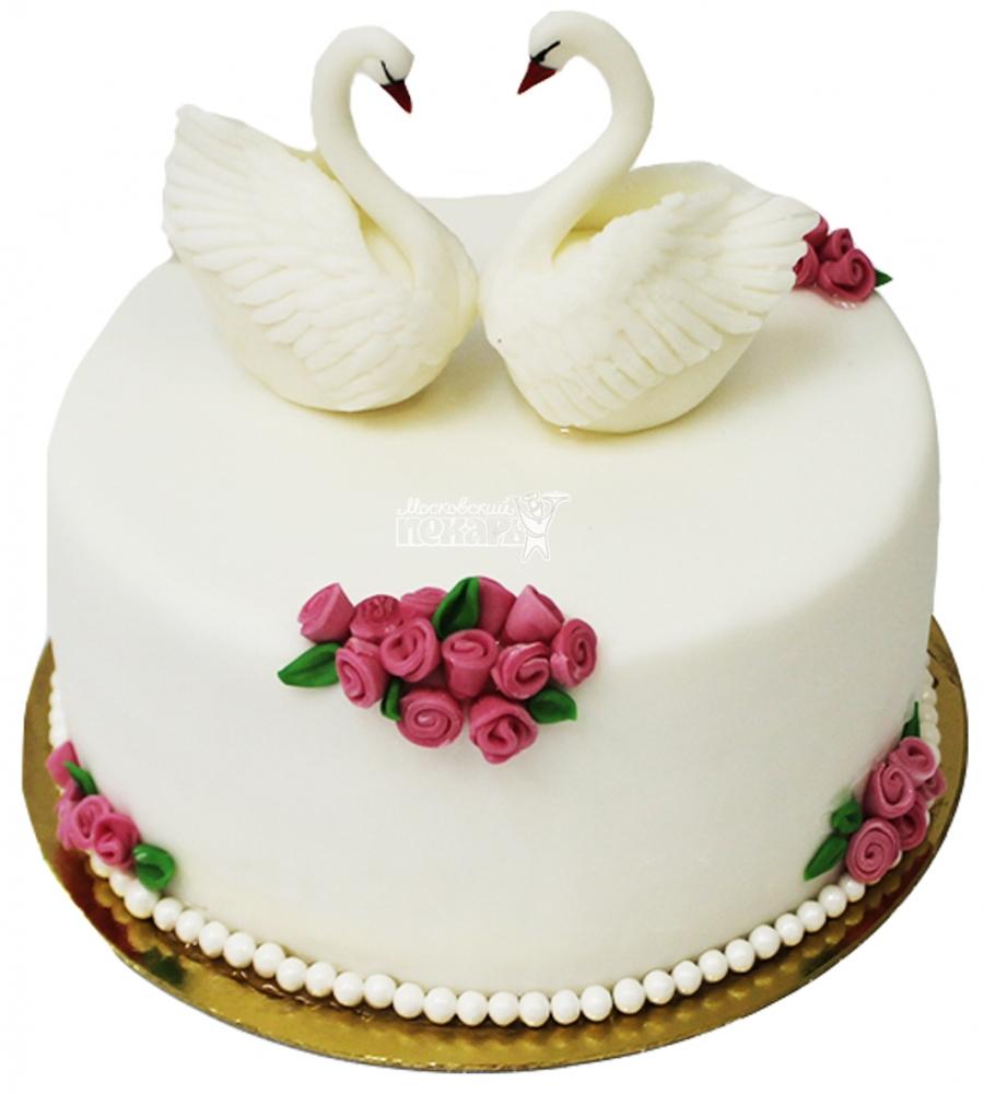 №4254 Свадебный торт с лебедями