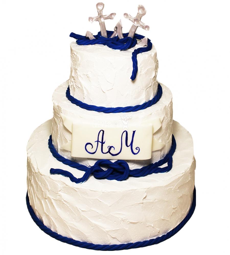 №4260 Свадебный торт с якорями