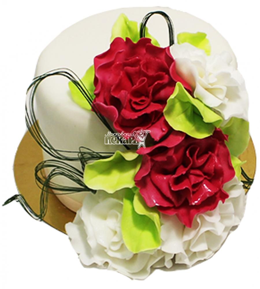 №4266 Свадебный торт с розами