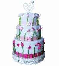 №4966 Свадебный торт с тюльпанами